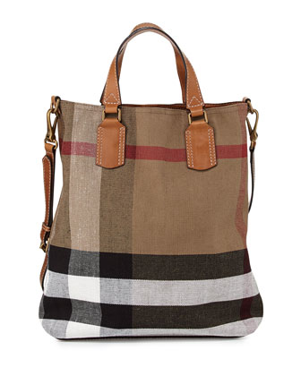 Check Canvas Medium Tote Bag, Saddle Brown
