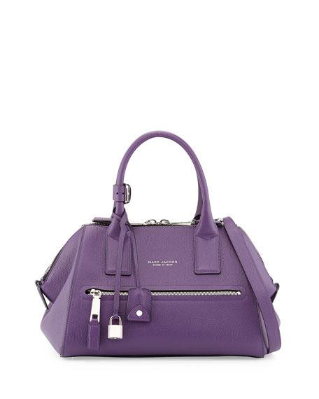 Incognito Small Leather Satchel Bag, Purple