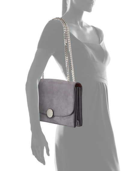 Trouble Suede Double-Chain Shoulder Bag, Dark Gray