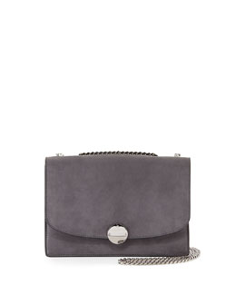 Marc Jacobs Trouble Suede Double-Chain Shoulder Bag, Dark Gray