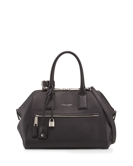 Incognito Medium Leather Satchel Bag, Black