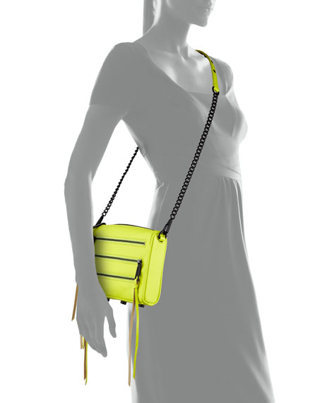 Five-Zip Mini Crossbody Bag, Acid Yellow