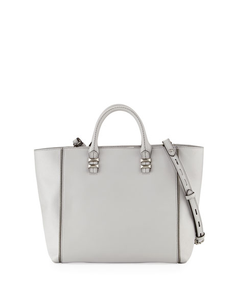 Perry Mini Zipper Tote Bag, Pale Gray