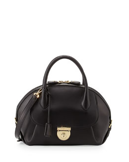 Salvatore Ferragamo Fiamma Domed Satchel Bag, Nero