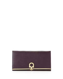 Salvatore Ferragamo Icona Continental Flap Wallet, Plum