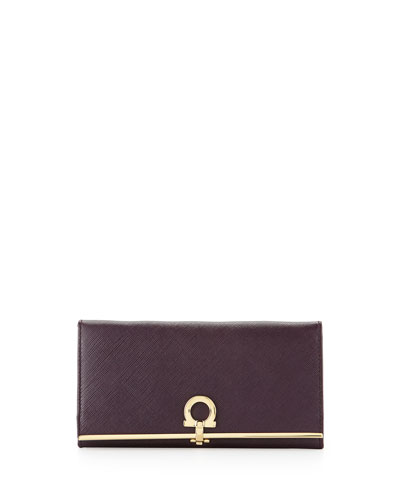 Salvatore Ferragamo Icona Continental Flap Wallet, Plum