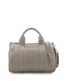 Alexander Wang Rocco Stud-Bottom Satchel Bag, Oyster
