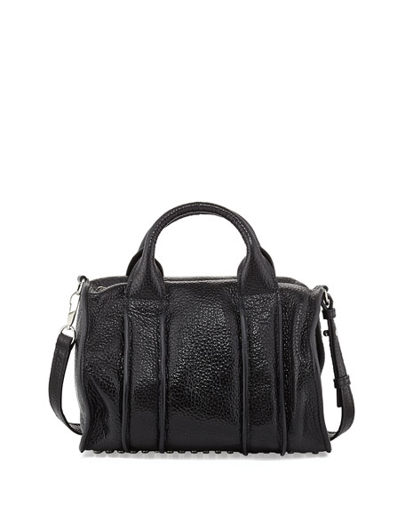 Inside-Out Rocco Pebbled Leather Satchel Bag, Black
