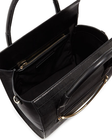 Chastity Embossed Satchel Bag, Black
