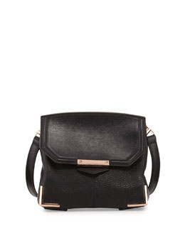 Alexander Wang Prisma Pebbled Lambskin Flat-Bottom Crossbody, Black