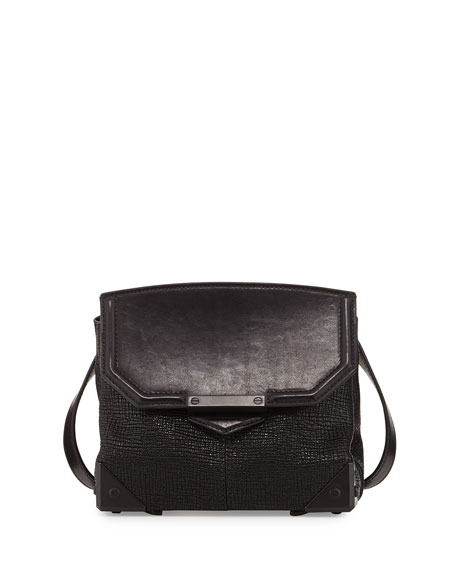 Prisma Embossed Lambskin Flat-Bottom Crossbody Bag, Black