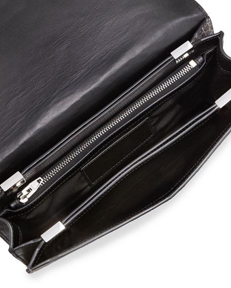 Prisma Croc-Embossed Envelope Clutch Bag, Oyster