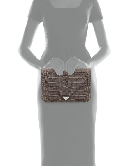 Prisma Croc-Embossed Envelope Clutch Bag, Oyster