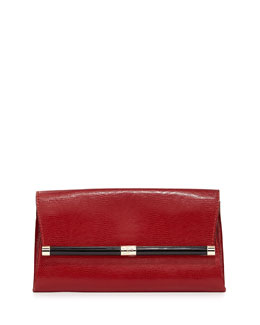 Diane von Furstenberg 440 Lizard-Print Leather Clutch Bag, Classic Red