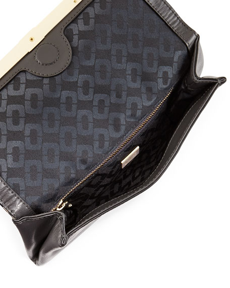 440 Snakeskin Envelope Clutch Bag, Flint/Black