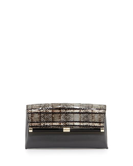Diane von Furstenberg 440 Snakeskin Envelope Clutch Bag, Flint/Black