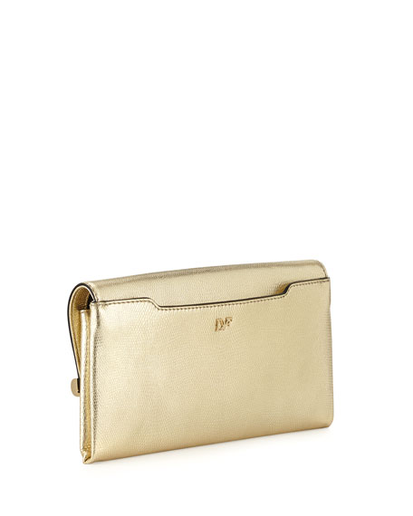 440 Lizard-Print Metallic Envelope Clutch Bag, Gold