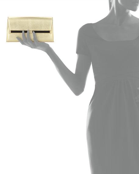 440 Lizard-Print Metallic Envelope Clutch Bag, Gold