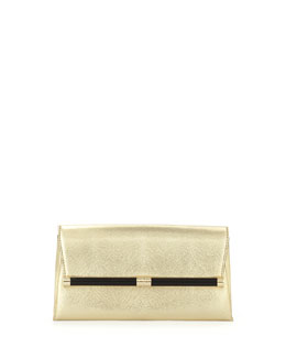 Diane von Furstenberg 440 Lizard-Print Metallic Envelope Clutch Bag, Gold