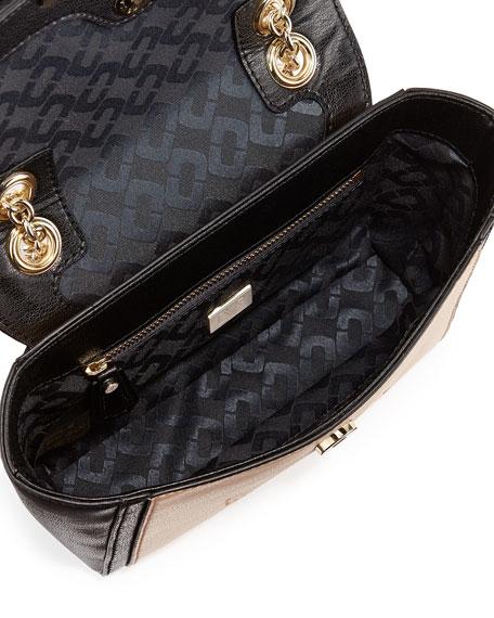440 Mini Snakeskin Crossbody Bag, Sandalwood/Black