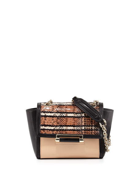 440 Mini Snakeskin Crossbody Bag, Sandalwood/Black