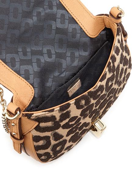 Sutra Mini Leopard-Print Crossbody Bag, Sandalwood