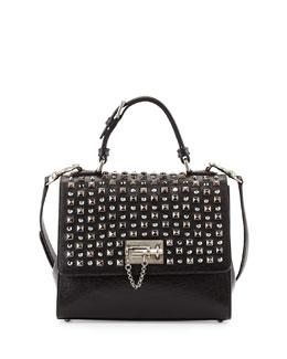Dolce & Gabbana Monica Studded Lock Satchel Bag, Black