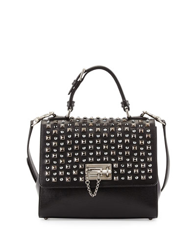Monica Studded Lock Satchel Bag, Black