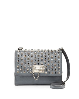 Dolce & Gabbana Monica Studded Lock Crossbody Bag, Gray