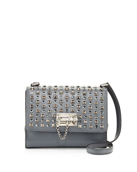 Monica Studded Lock Crossbody Bag, Gray