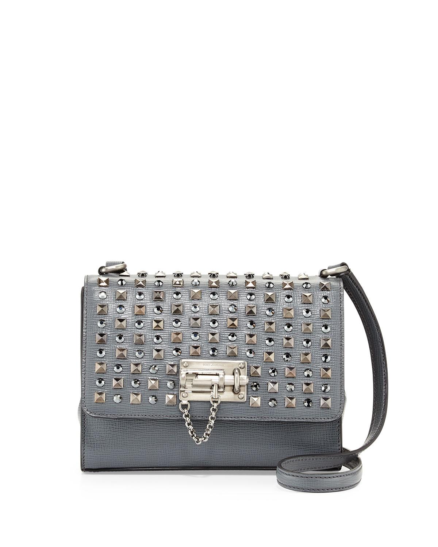Dolce   Gabbana Monica Studded Lock Crossbody Bag, Gray   Neiman Marcus 3470d4a47e