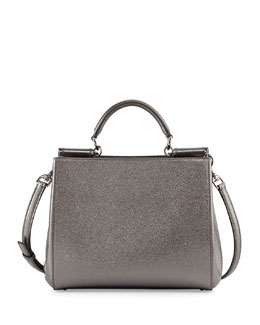 Dolce & Gabbana Miss Sicily Medium Shopper Bag, Gray Metallic