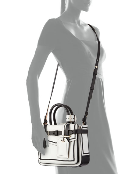 Boxer Micro Tote Bag, White/Black