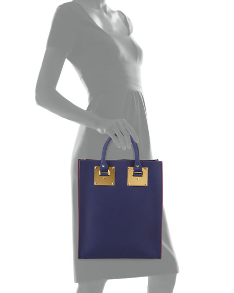 Mini Buckled Leather Tote Bag, French Navy