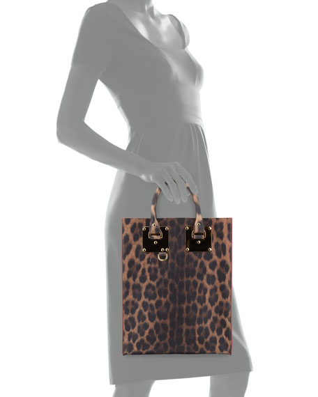 Mini Leather Tote Bag, Leopard-Print