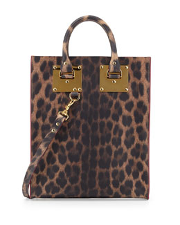 Sophie Hulme Mini Leather Tote Bag, Leopard-Print