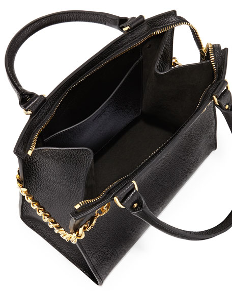 Chain Leather Shopper, Black
