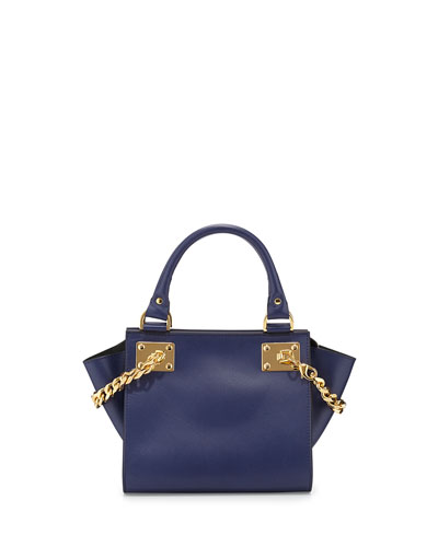Sophie Hulme Mini Chain Leather Shopper Bag, French Navy