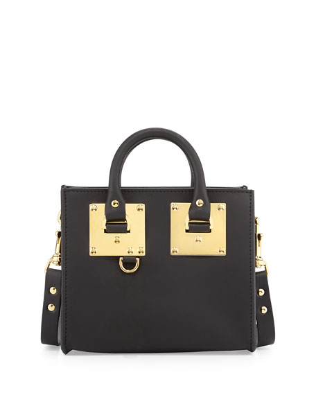 Sophie HulmeSmall Leather Box Satchel Bag, Black