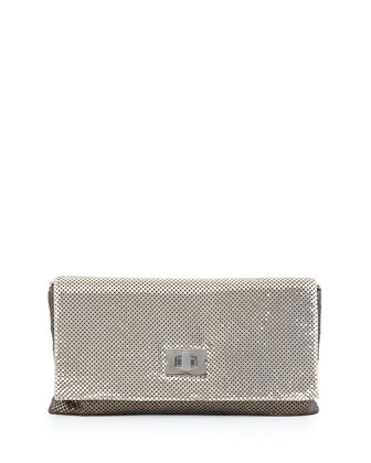 Colorblocked Metal Mesh Clutch, Golden/Pale Golden