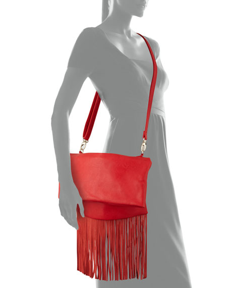 Fringe Fold-Over Faux-Leather Clutch Bag, Red