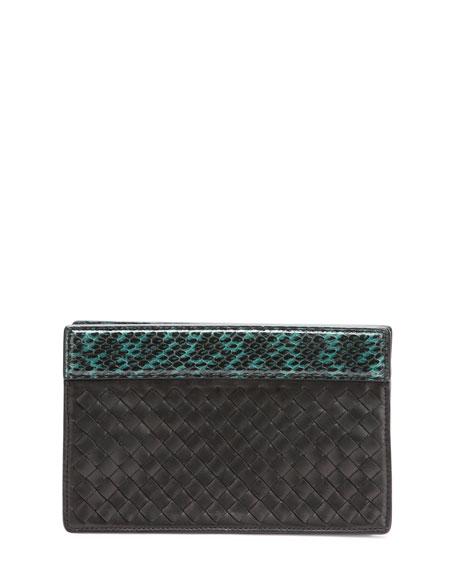 Small Intrecciato Clutch Bag, Black/Green