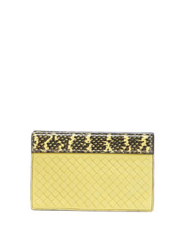 Bottega Veneta Small Intrecciato Clutch Bag, Chartreuse