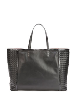 Bottega Veneta Medium Snake & Napa Tote Bag, Black