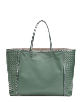 Bottega Veneta Medium Snake & Napa Tote Bag, Green