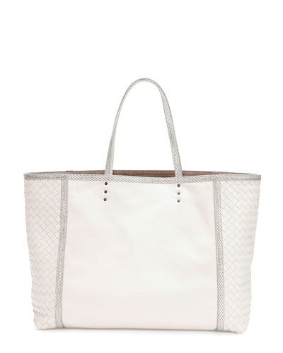Bottega Veneta Medium Snake & Napa Tote Bag, White