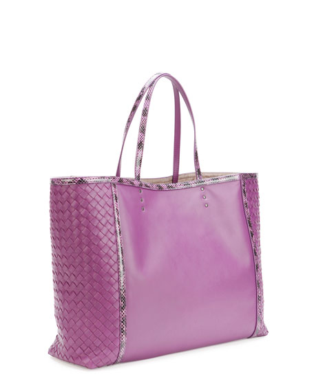 Medium Snake & Napa Tote Bag, Purple