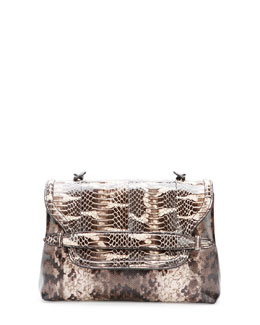 Bottega Veneta Medium Snakeskin Flap Shoulder Bag