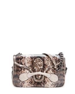 Bottega Veneta Medium Snakeskin Flap Shoulder Bag, Tan Multi