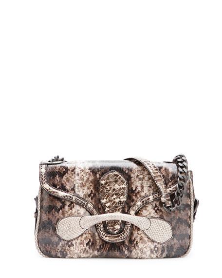 Medium Snakeskin Flap Shoulder Bag, Tan Multi